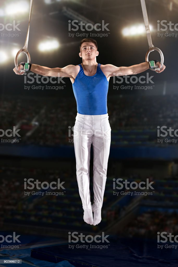 portrait of young man gymnasts - Royalty-free Adult Stock Photo