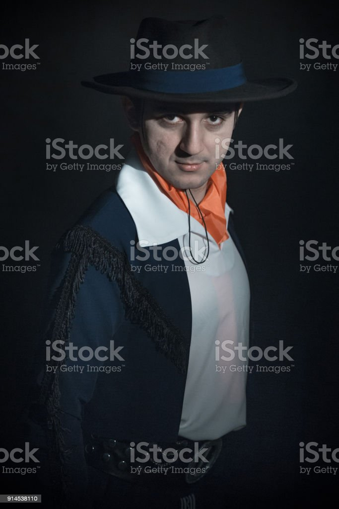Portrait of Young Man In Latin-American Folk Costume stock photo