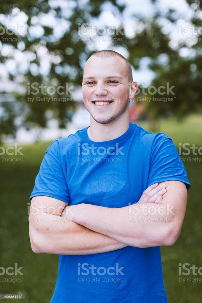 Portrait of Young Man Looking Away  Outdoors royalty-free stock photo