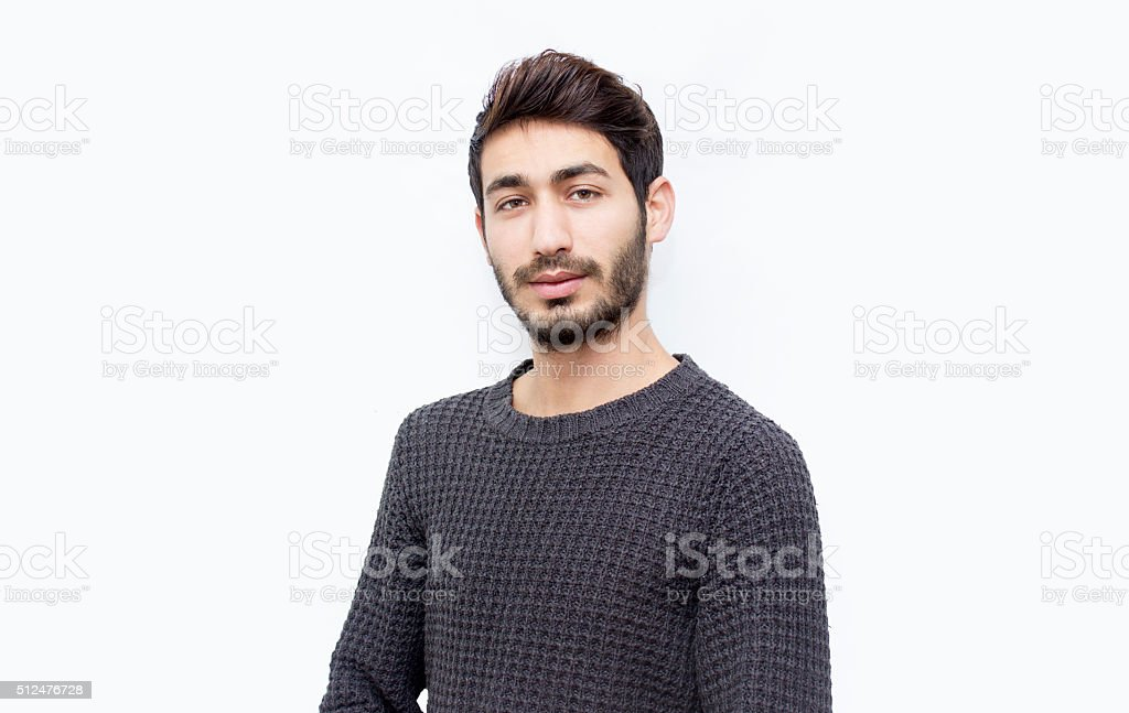 Portrait of young man over isolated on white stock photo