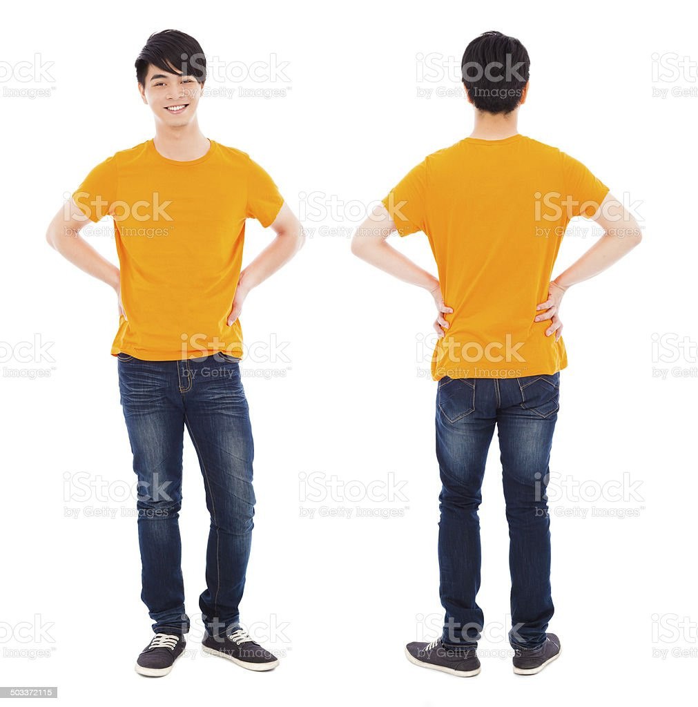 portrait of young man standing ,front and back stock photo