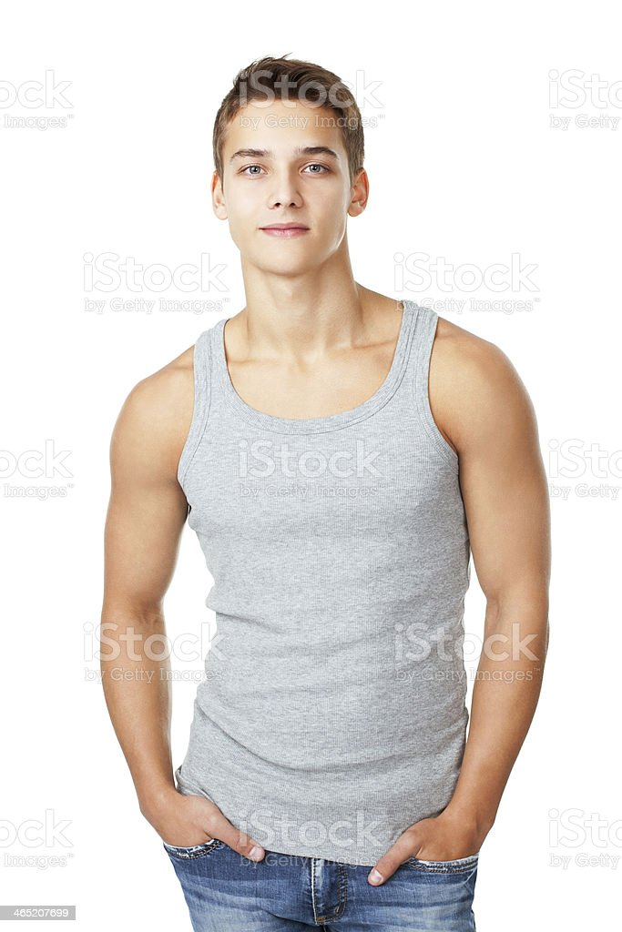 Portrait of young man wearing t-shirt stock photo