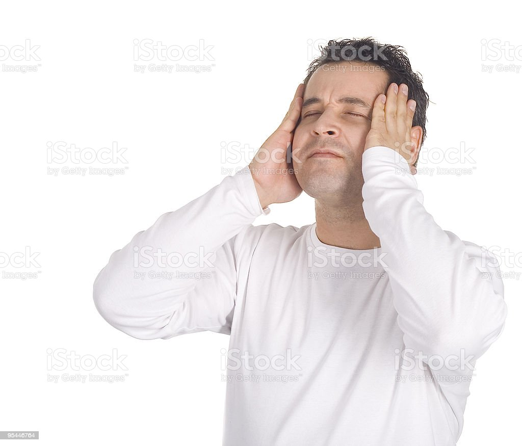 Portrait of  young man with a headache royalty-free stock photo
