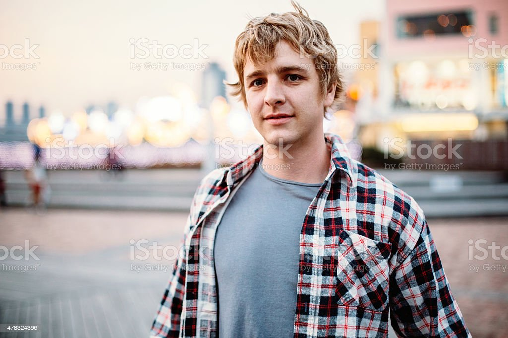 Portrait of young man with casual clothes stock photo