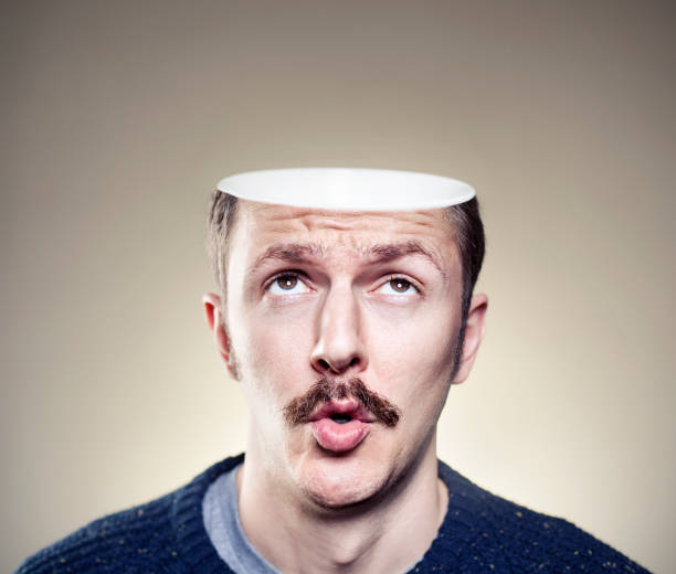 portrait of young man with empty head - head stock photos and pictures