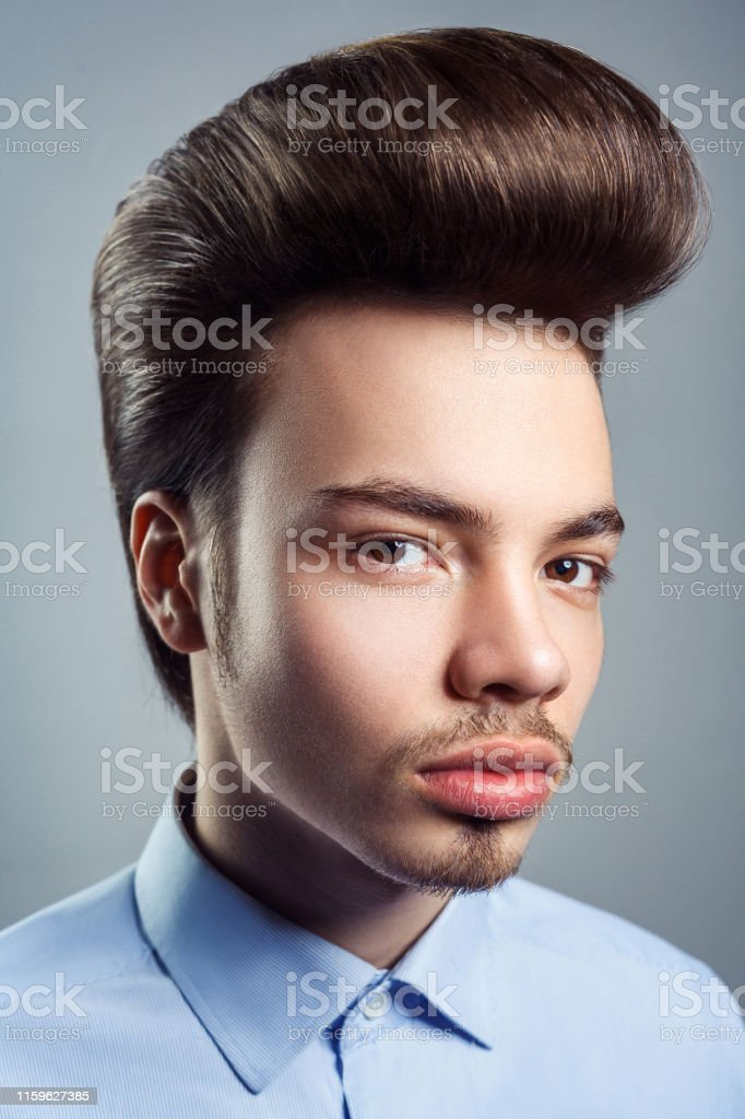 Portrait Of Young Man With Retro Classic Pompadour Hairstyle ...