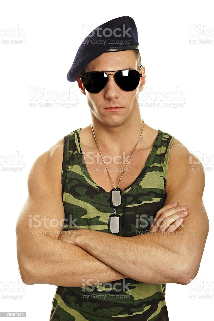 Portrait of young military man stock photo