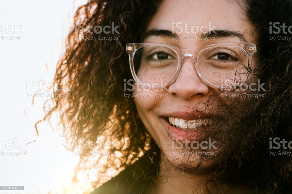 Portrait of Young Mixed Race Woman stock photo