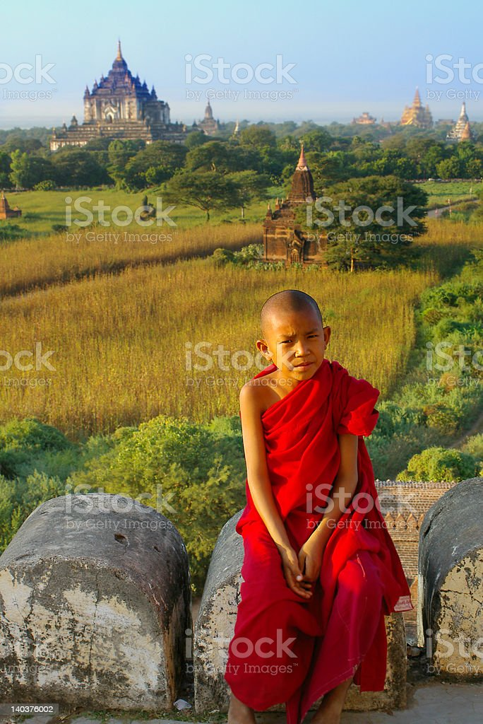 portrait of young monk stock photo