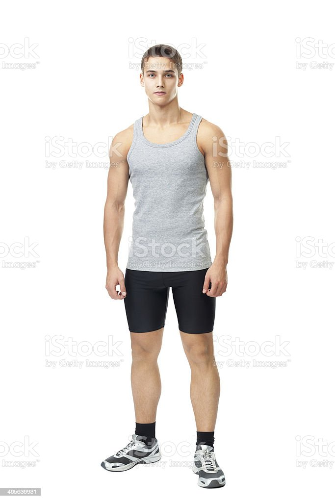 Portrait of young muscular athlete man stock photo
