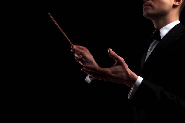portrait of young orchestra conductor performing with a baton - orchestra conductor top view foto e immagini stock