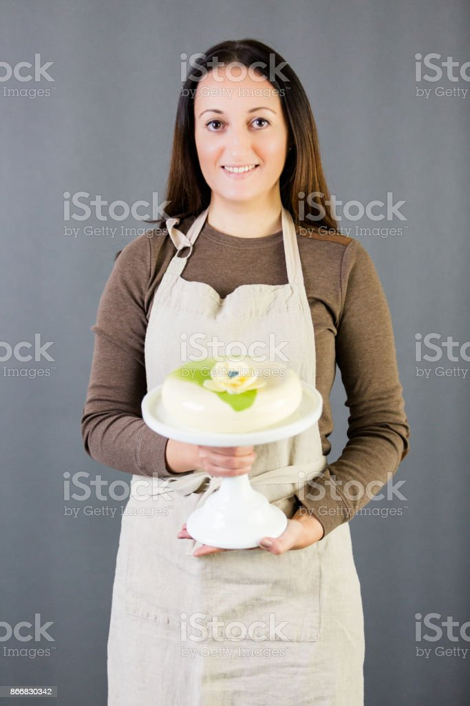 Portrait of young pastre shef stock photo