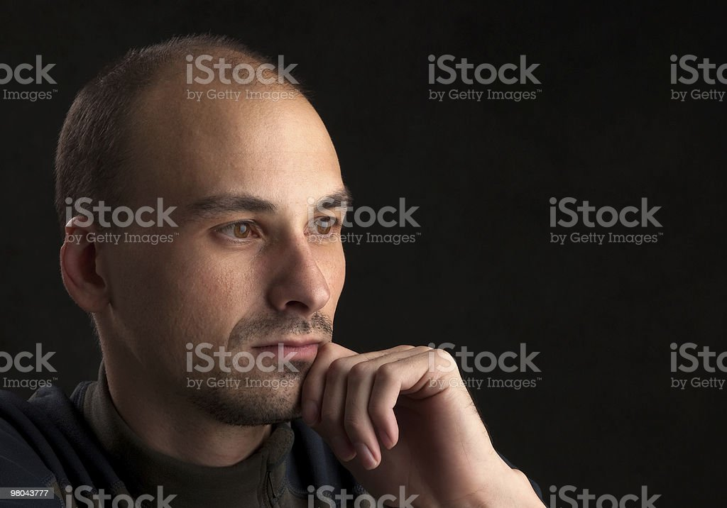 Portrait of young pensive guy royalty-free stock photo