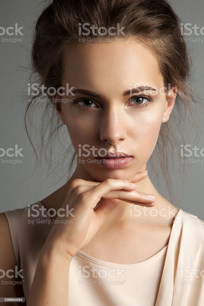 Portrait of young pretty woman with natural make-up stock photo