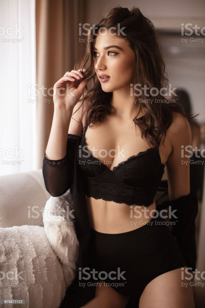 Portrait of young sensual woman stock photo