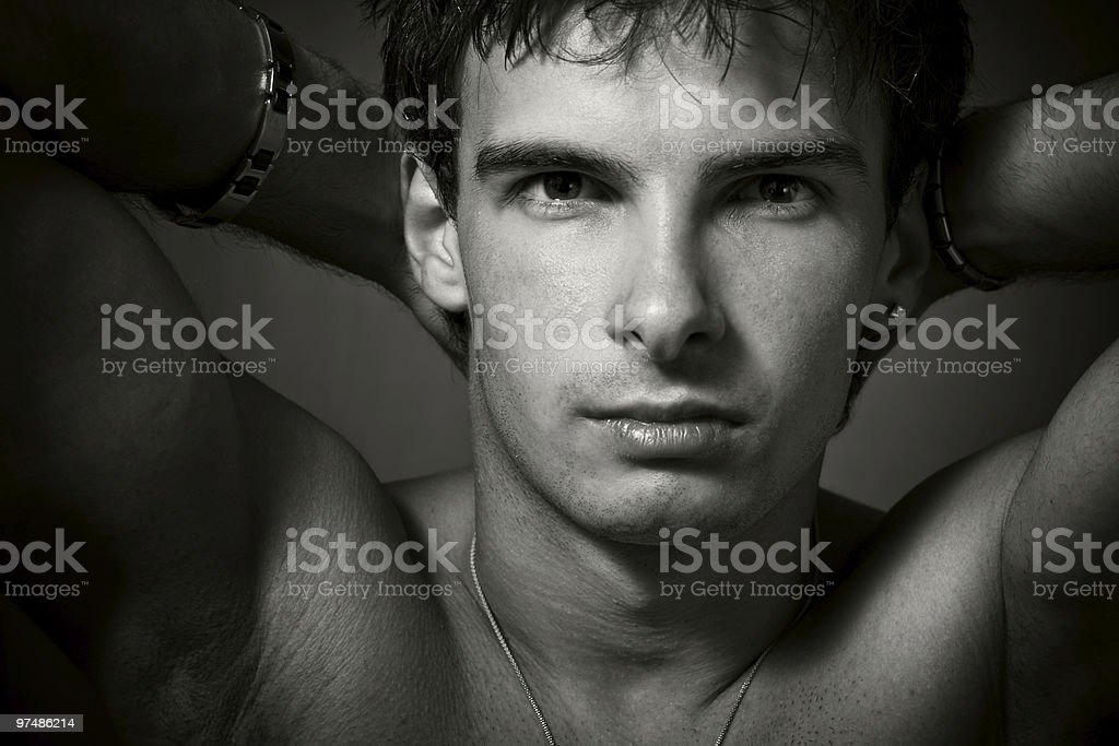 Portrait of young sexy man royalty-free stock photo