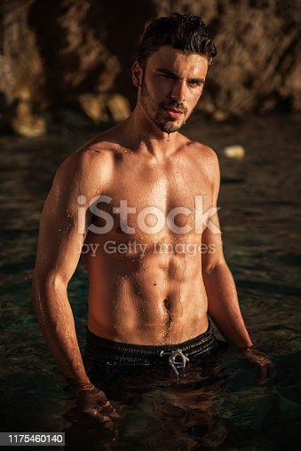 519676858 istock photo Portrait of young shirtless athletic man 1175460140