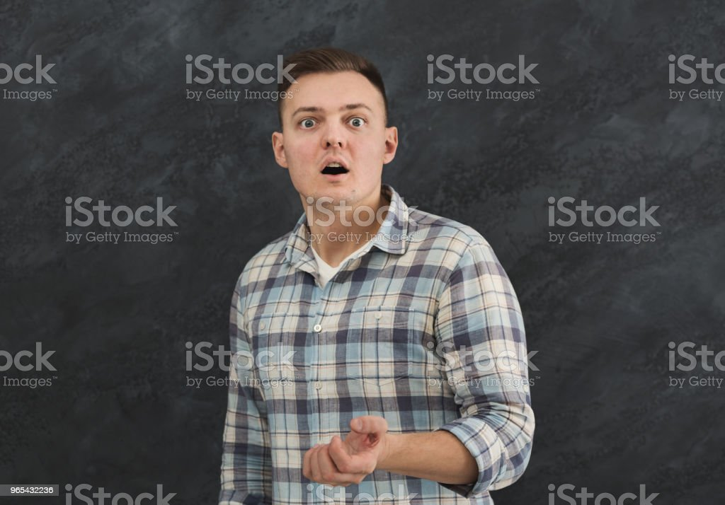 Portrait of young shocked man royalty-free stock photo