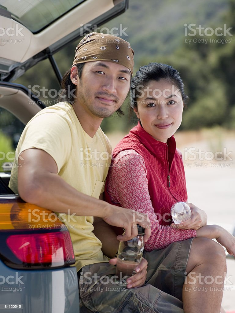 Portrait of young sitting couple.  royalty-free stock photo