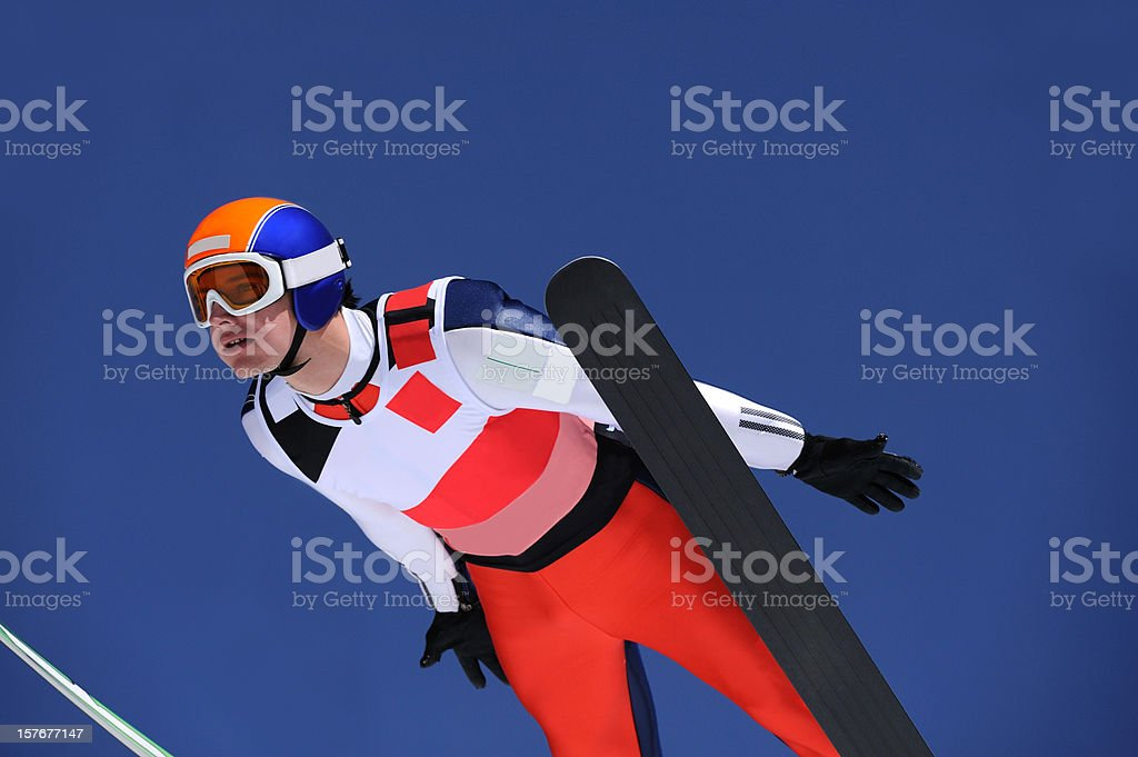 Portrait of young ski jumper stock photo