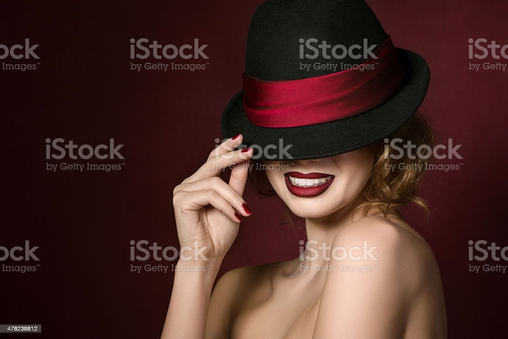 Portrait of young smiling actress stock photo