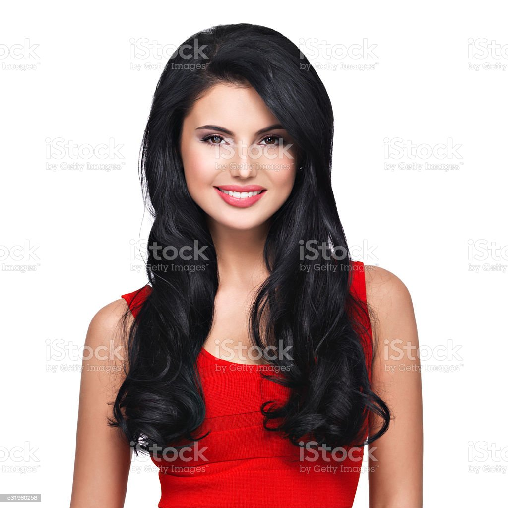 Portrait  of  young smiling woman with long brown hair stock photo