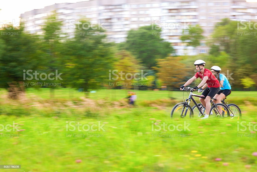 Portrait of Young Sportive caucasian Couple Outdoors Having Time Together stock photo