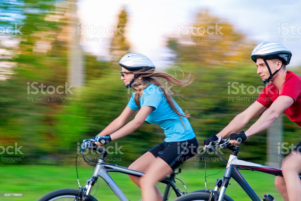Portrait of Young Sportive caucasian Couple Outdoors stock photo