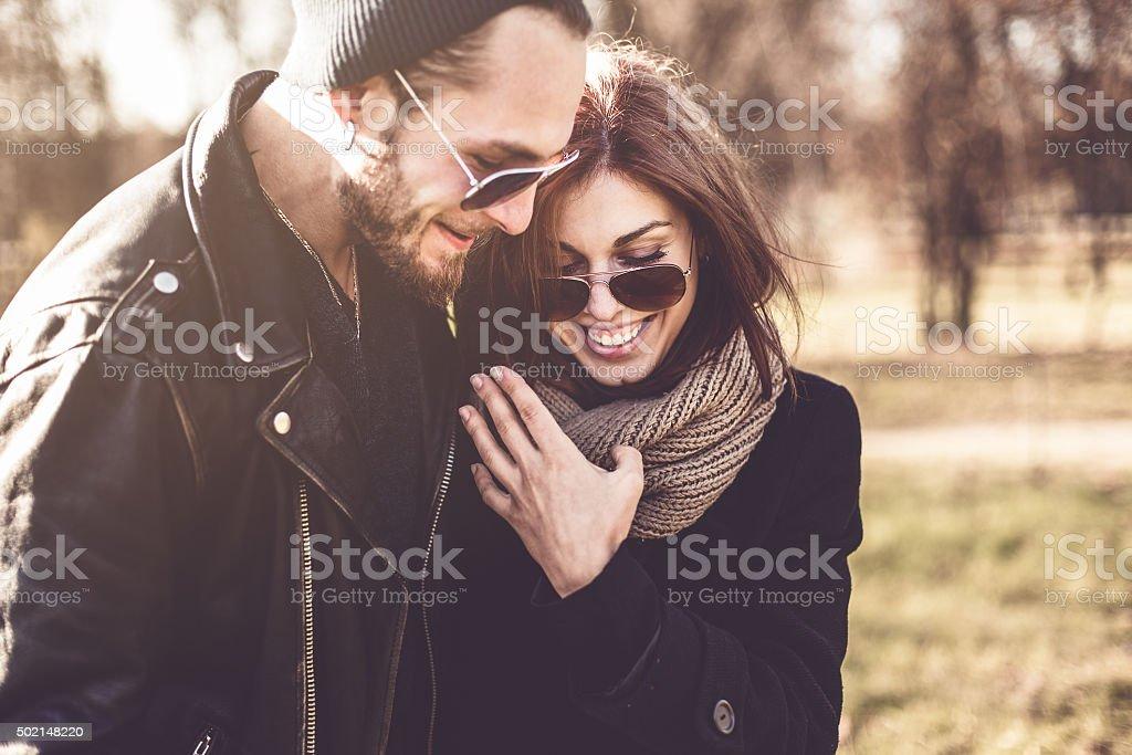 portrait of young stylish couple stock photo