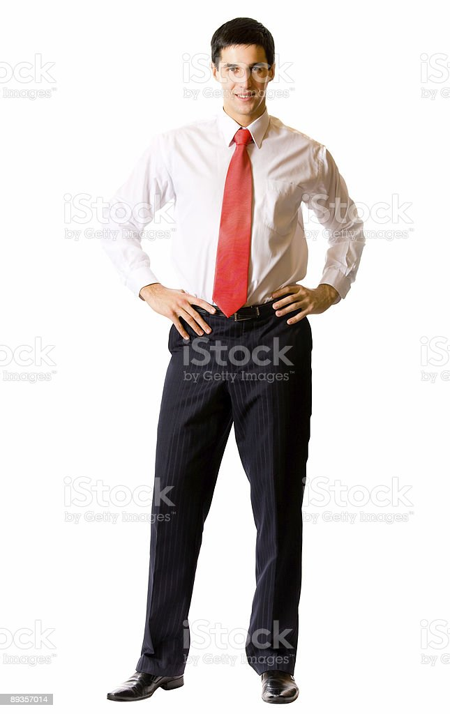 Portrait of young successful happy smiling businessman, isolated on white royalty-free stock photo