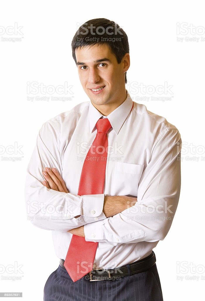 Portrait of young successful happy smiling businessman, isolated royalty-free stock photo