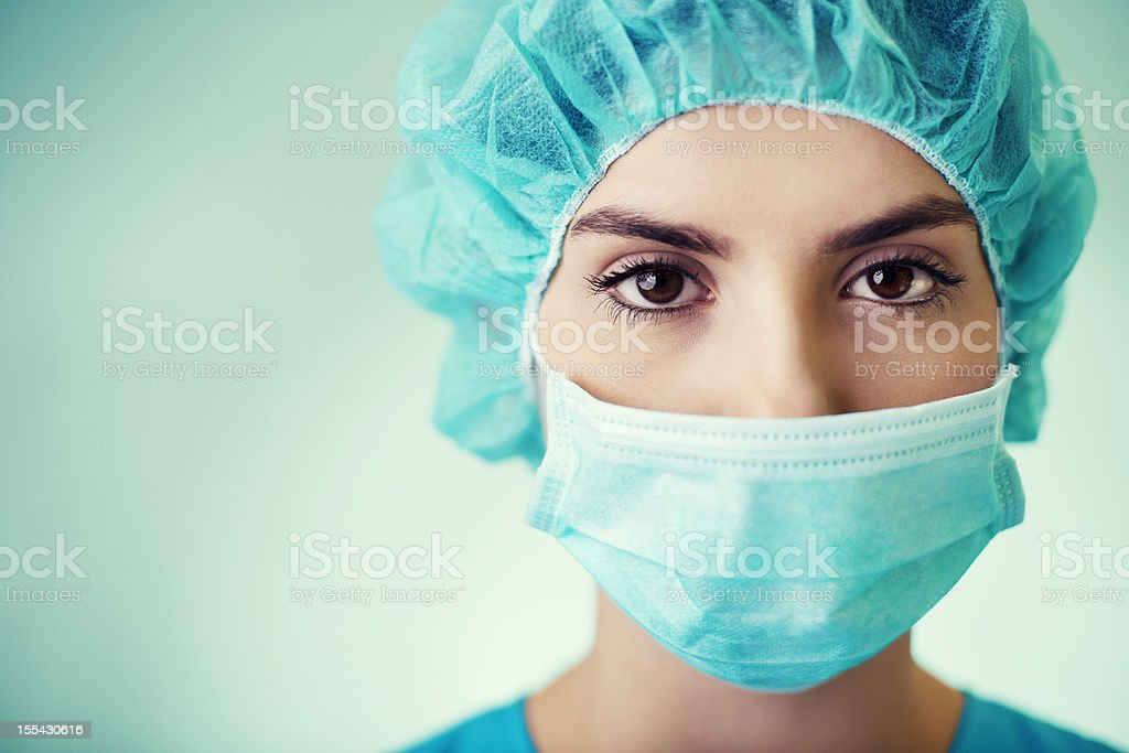 Portrait of young surgeon stock photo