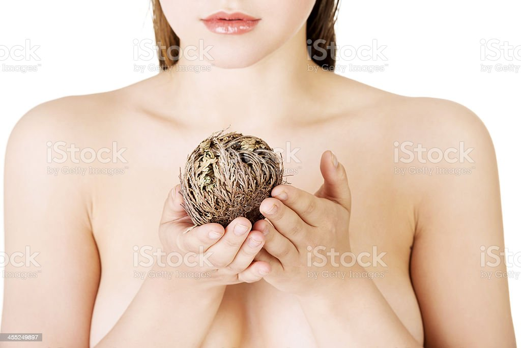 Portrait of young topless woman. royalty-free stock photo