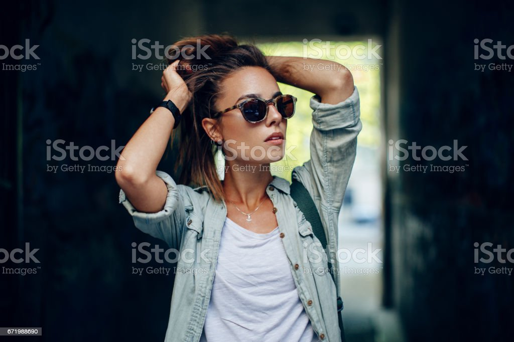 Portrait of young urban woman stock photo