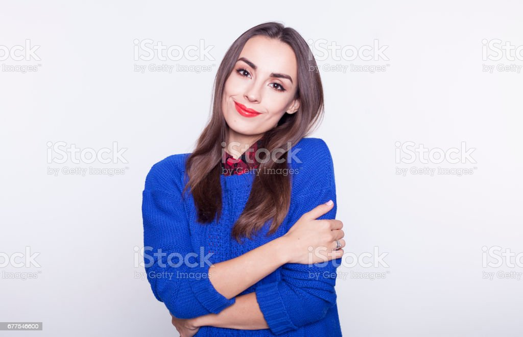 Portrait of young very beautiful brunette girl isolated. royalty-free stock photo