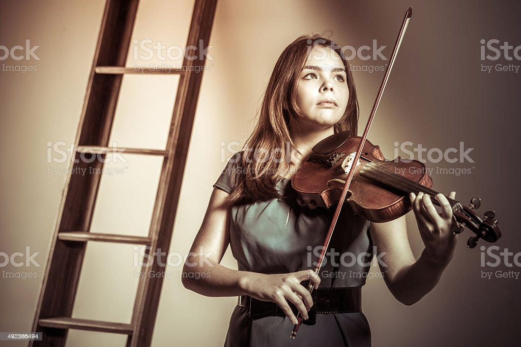 Portrait Of Young Violinist stock photo