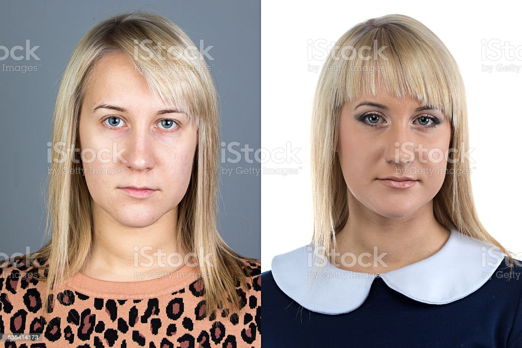 Portrait of young woman before and after make up stock photo