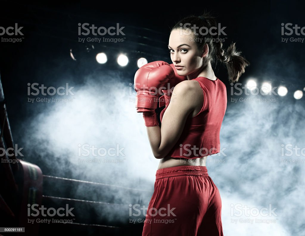Portrait Of Young Woman - Boxing stock photo