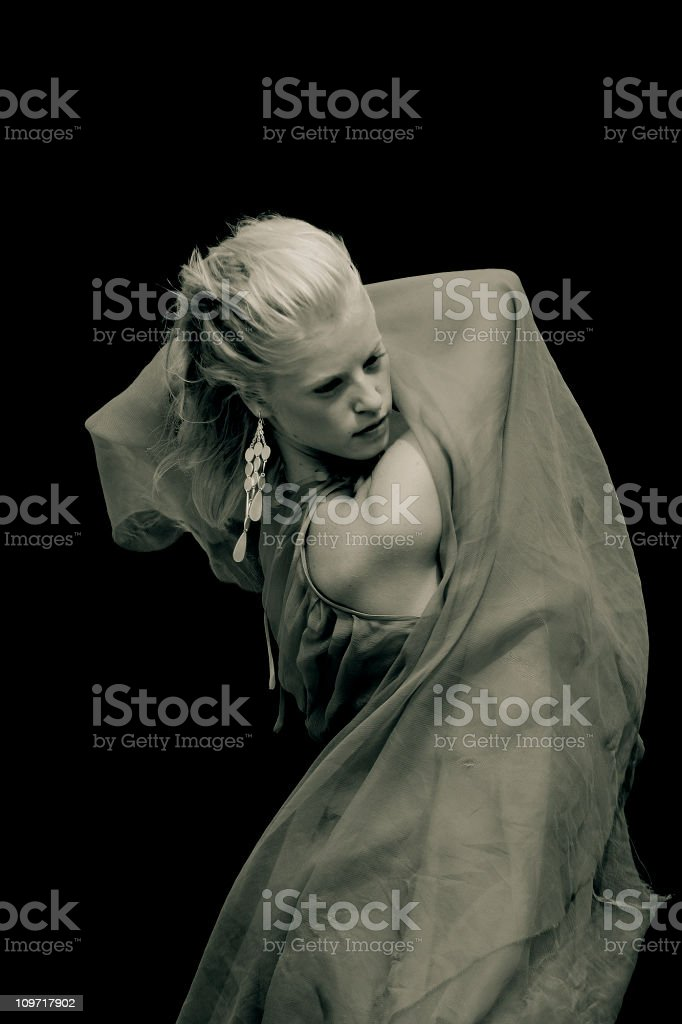 Portrait of Young Woman Dancing, Sepia Toned royalty-free stock photo