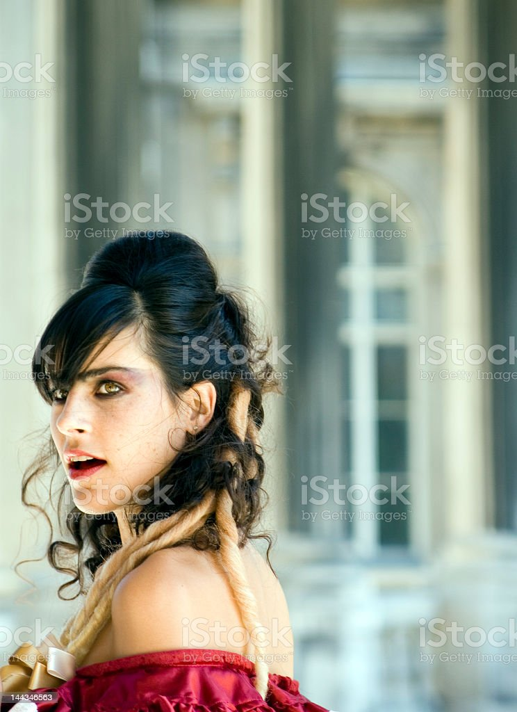 Portrait of Young Woman Dressed Up in Palace royalty-free stock photo
