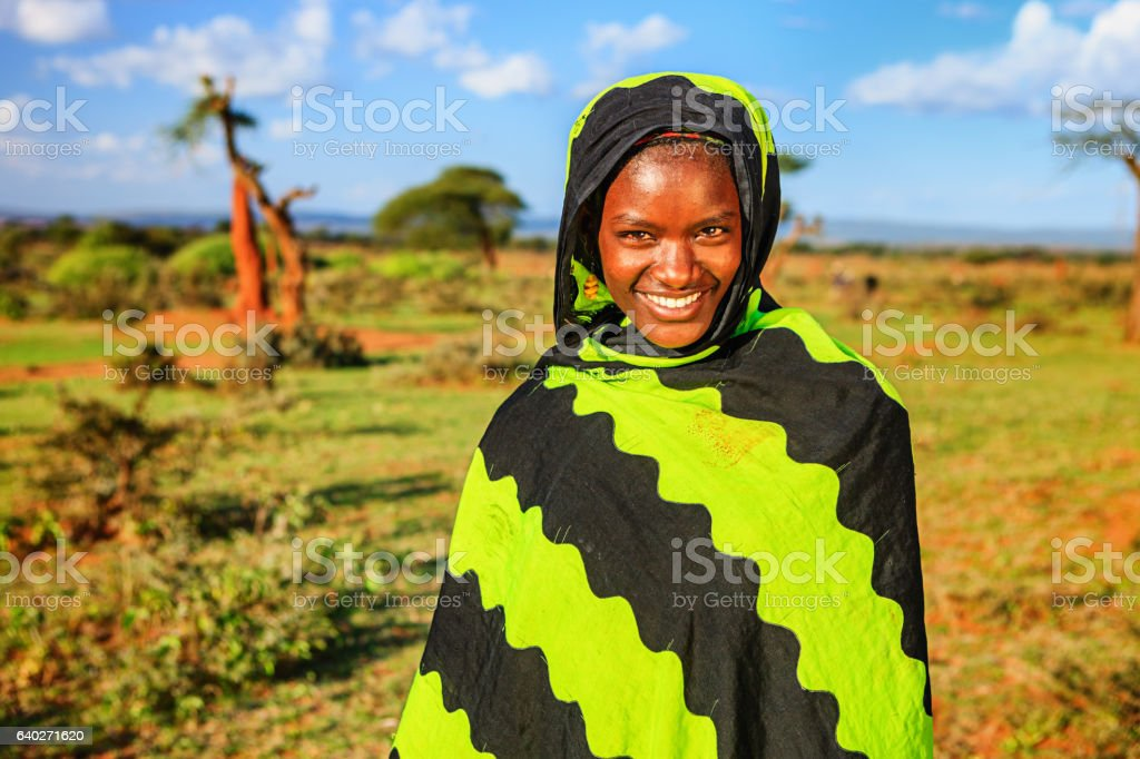 Portrait of young woman from Borana, Ethiopia, Africa stock photo