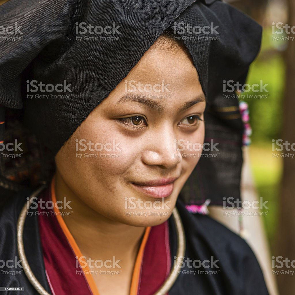 Portrait of young woman from Tai Dam hilltribe in Laos royalty-free stock photo