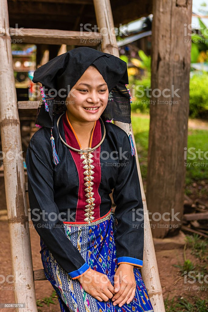 Portrait of young woman from Tai Dam hilltribe in Laos stock photo