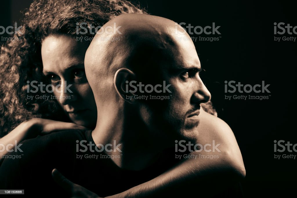 Portrait of Young Woman Hugging Man, Toned royalty-free stock photo