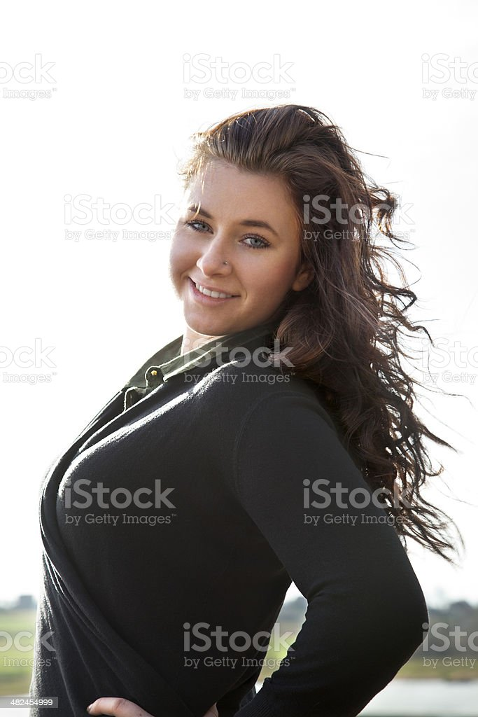 Portrait of young woman in nature royalty-free stock photo