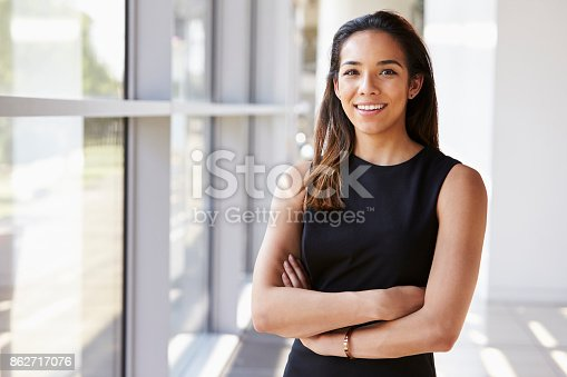 istock Portrait of young woman looking to camera with arms crossed 862717076