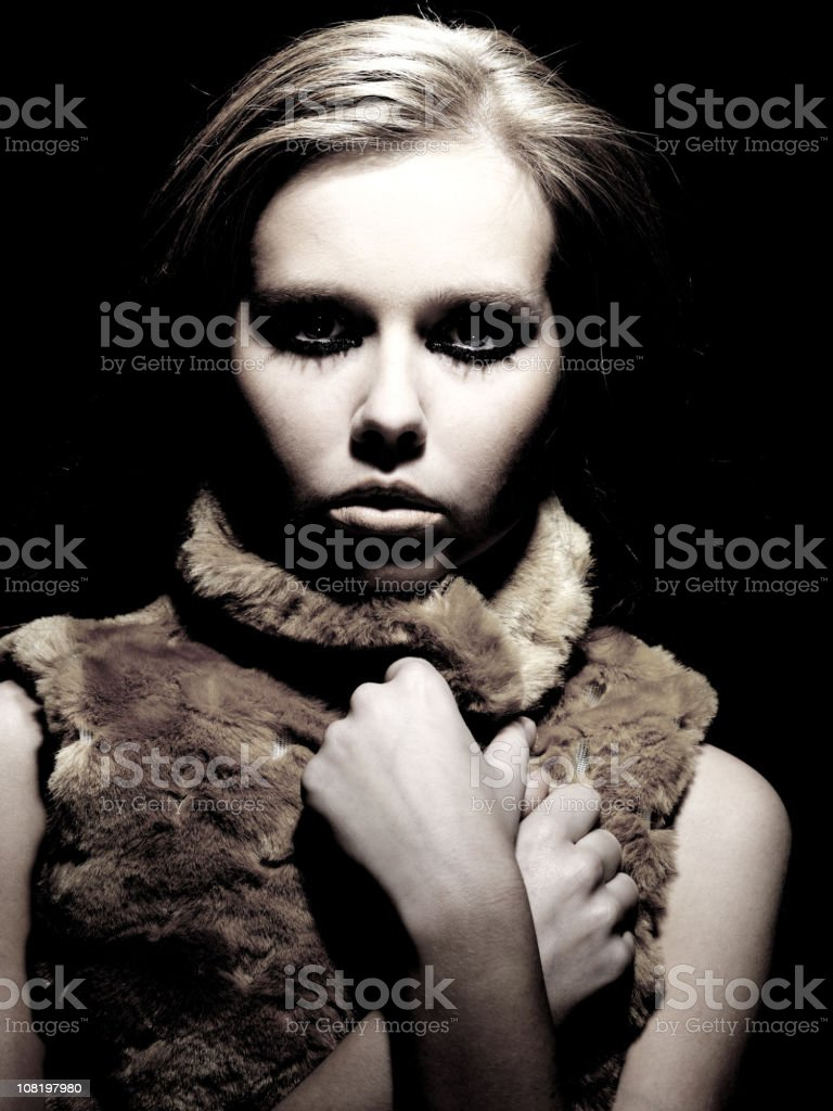 Portrait of Young Woman, Low Key Black and White royalty-free stock photo
