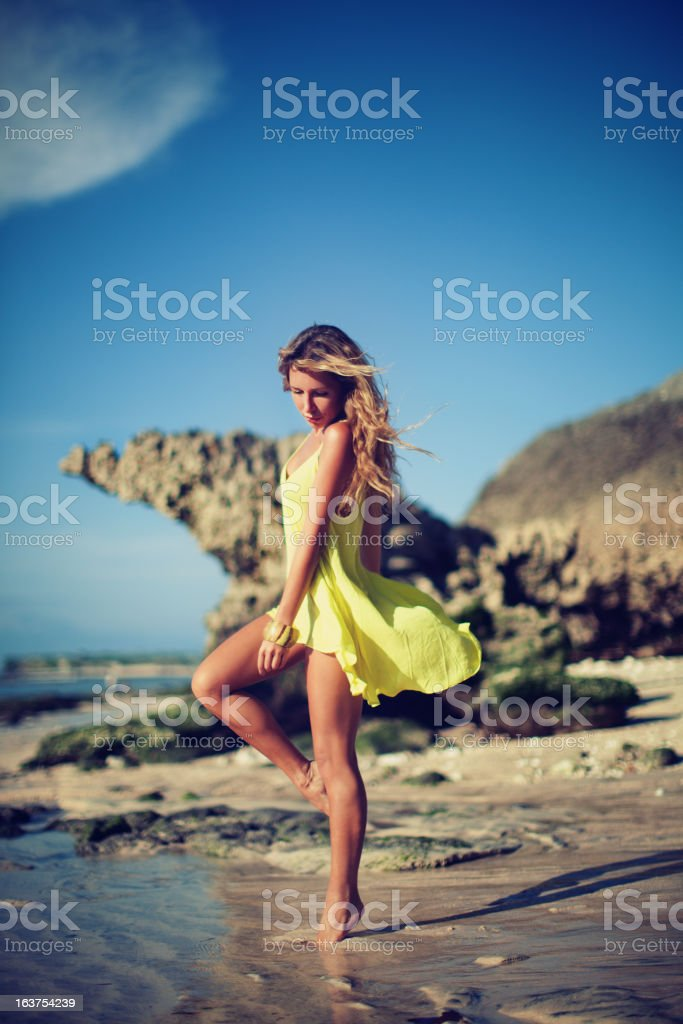 Portrait of Young Woman on Beach royalty-free stock photo