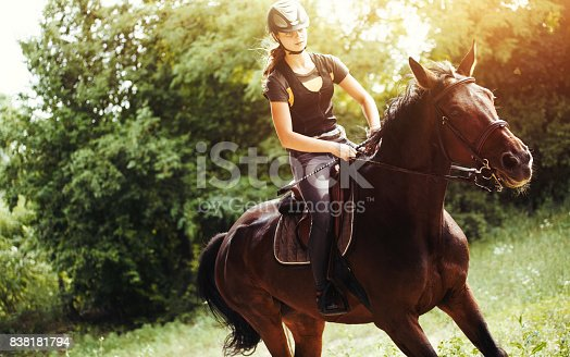 Portrait of young woman riding her horse in countryside