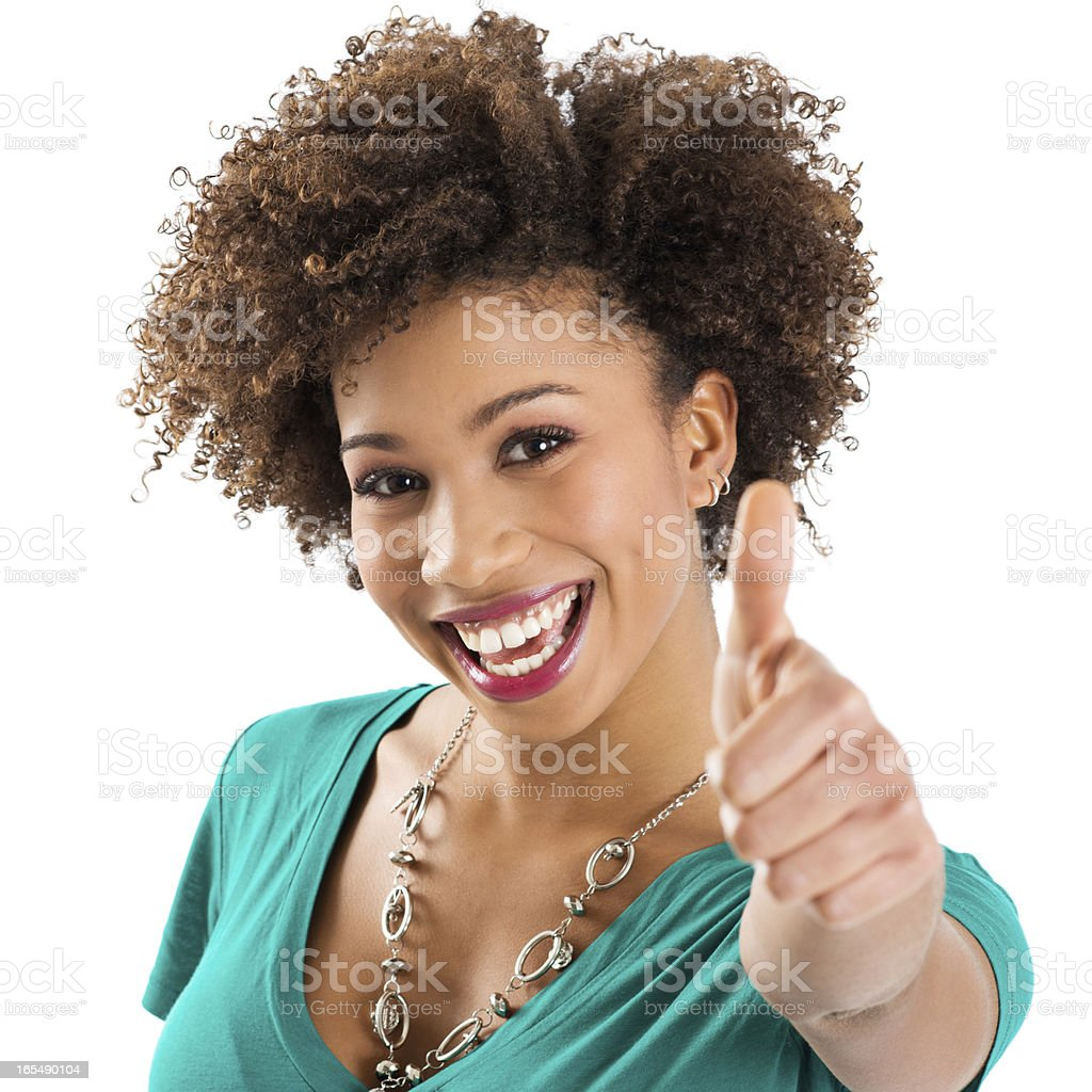 Portrait Of Young Woman Showing Thumb Up Sign royalty-free stock photo